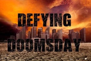 The anthology title 'Defying Doomsday' printed over a background of a city surrounded by desert with an orange stormy sky.